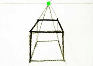 one point perspective cube example