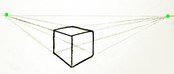 Cube drawn with two point perspective