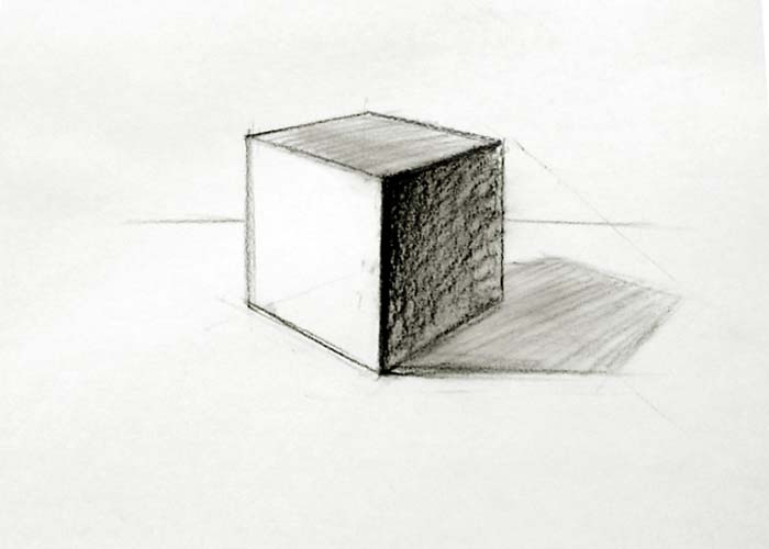Sketch of cube drawn using two point perspective