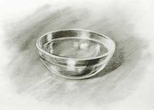 Drawing of glass bowl