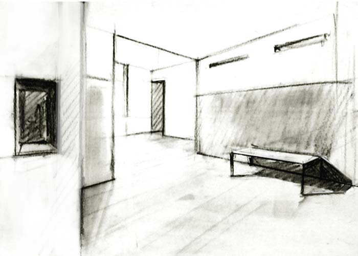Interior drawn with two point perspective