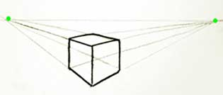 two point perspective cube example